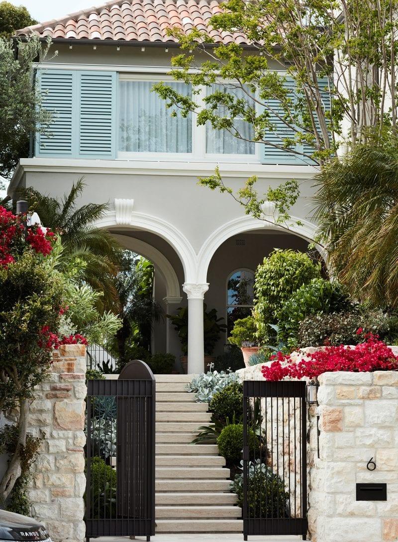 Luigi Rosselli Architects, mediterranean classicism villa, entry stone stairs