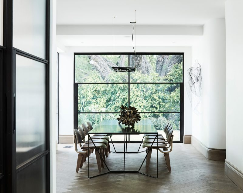 Luigi Rosselli Architects, steel windows, dining, pepertree, brushed grey herringbone timber floor