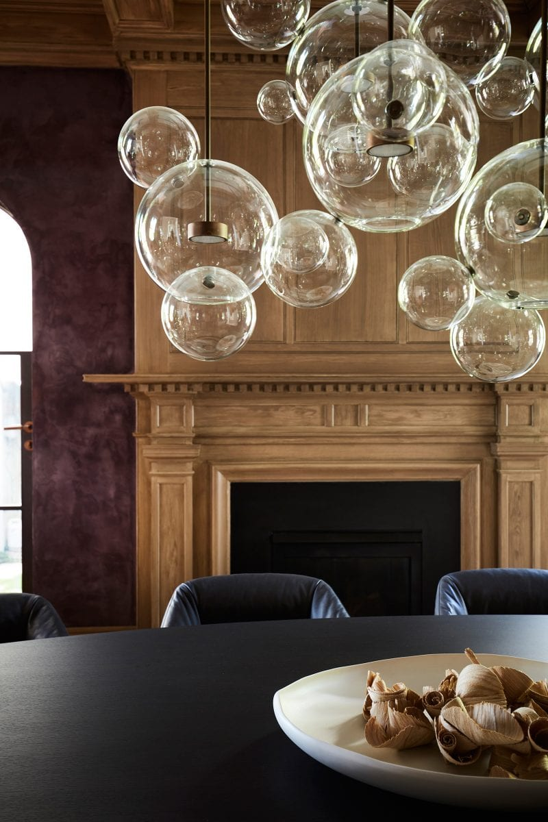 Luigi Rosselli Architects, classic fireplace, bubble chandeliers, stuco walls