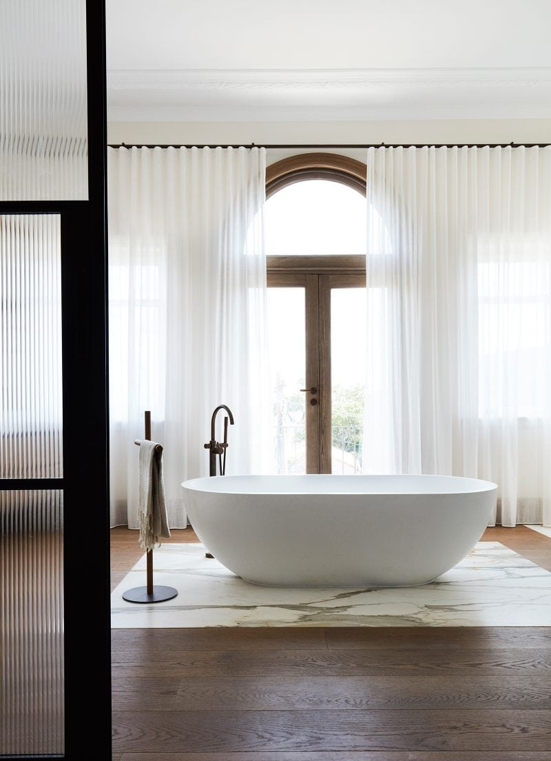Luigi Rosselli Architects, stand alone bath, amazing ensuite, marble inset, wide timber boards