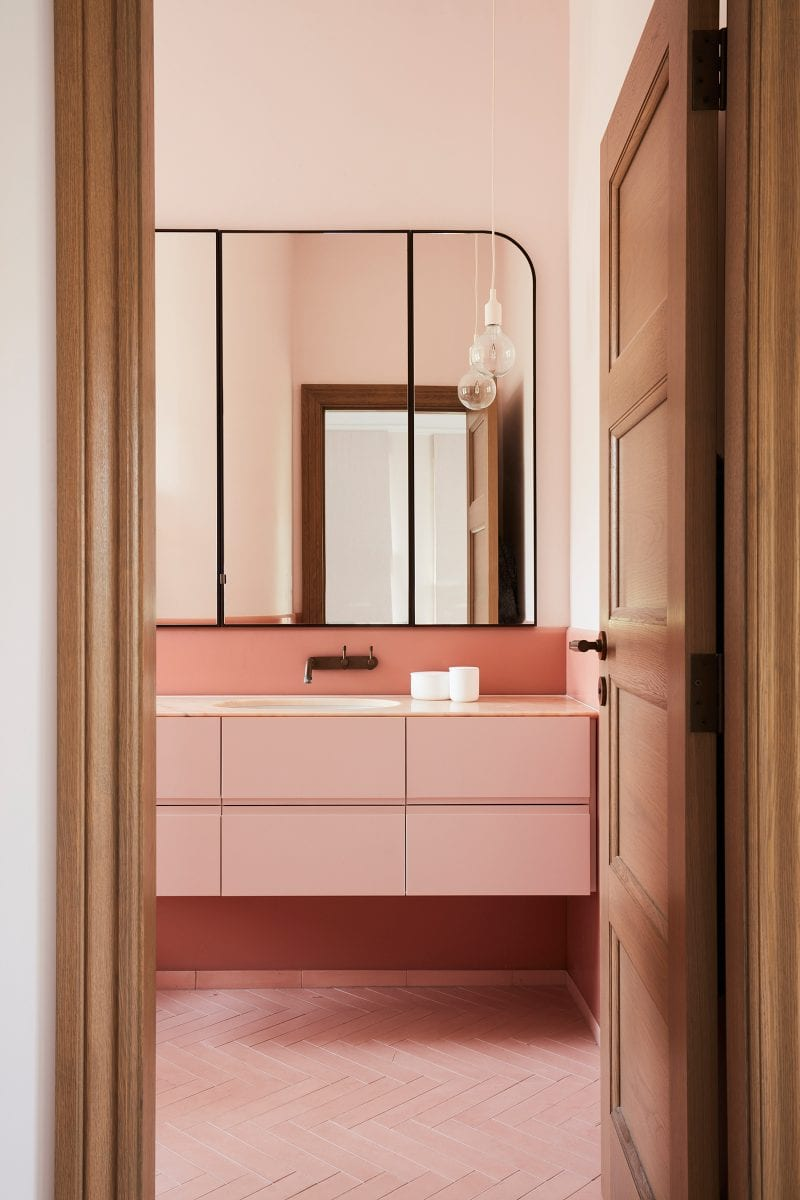Luigi Rosselli Architects, pale coral herringbone tiles, rosso portogallo marble
