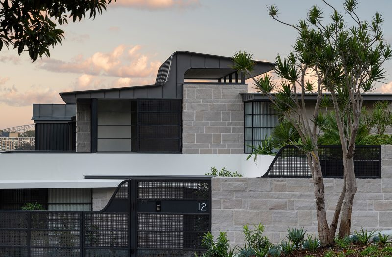 Luigi Rosselli Architects, zinc roof, metal roof, shaped roof, sandstone, woollarha house, sydney house, steel windows, woven brass gate, sandstone fencing, Sydney architecture, Woollahra architecture