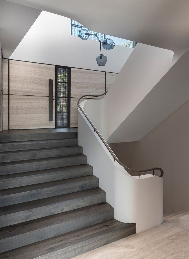 Luigi Rosselli Architects, stairwell, stairs, timber handrail, timber flooring, travertine, Woollarha house, Sydney house, residential architecture, Sydney architecture, Woollahra architecture