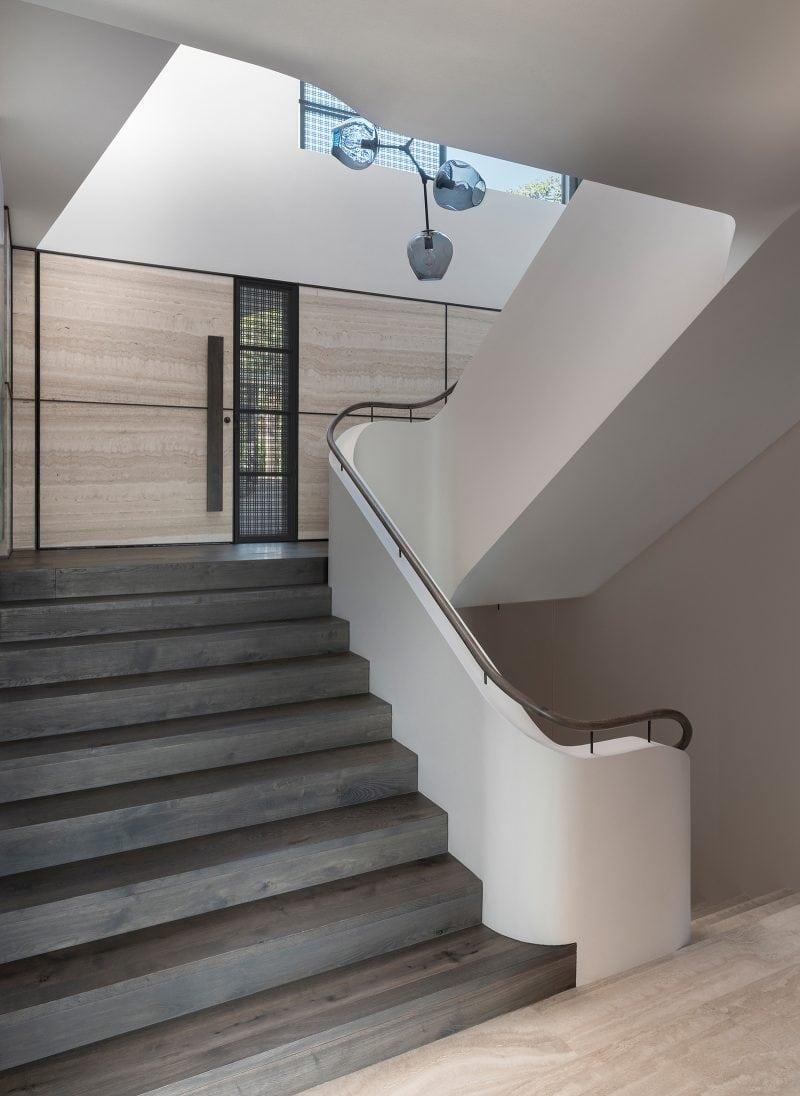 Luigi Rosselli Architects, stairwell, stairs, timber handrail, timber flooring, travertine, Woollarha house, Sydney house, residential architecture, Sydney architecture, Woollahra architecture