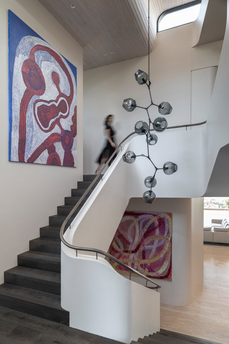 Luigi Rosselli Architects, stairwell, stairs, timber handrail, timber flooring, travertine, Woollarha house, Sydney house, residential architecture, high windows, Sydney architecture, Woollahra architecture, bubble chandelier