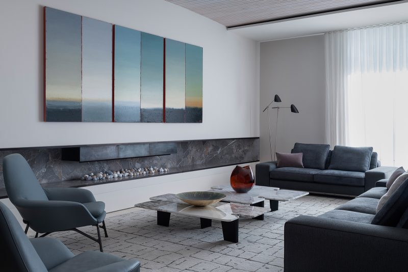 Luigi Rosselli Architects, fire place, cousy living room, woollarha house, sydney house, residential architecture, gas fireplace, grooved ceiling, Sydney architecture, Woollahra architecture, marble hearth, marble, Artemodusfireplace