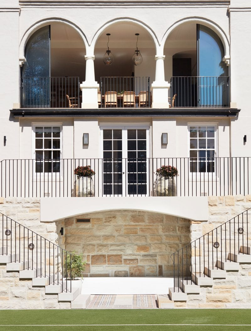 Luigi Rosselli Architects, Sydney architecture, Woollahra house, residential architecture, frameless glass balustrade, Woollahra architecture, mediterranean classicism villa, entry stone stair