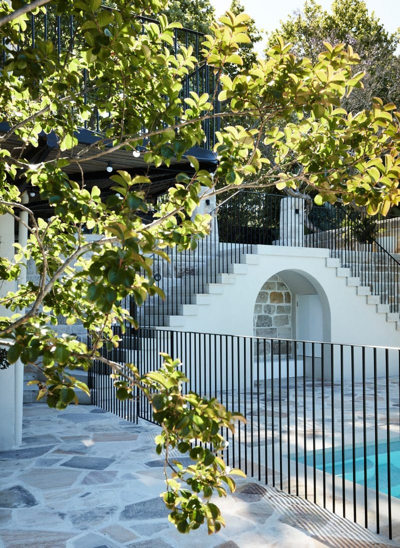 Luigi Rosselli Architects, Sydney architecture, Woollahra house, residential architecture, frameless glass balustrade, Woollahra architecture, mediterranean classicism villa, entry stone stair, swimming pool design, metal balustrade